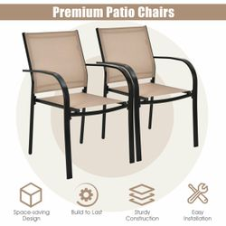 Gymax 4PCS Stackable Patio Dining Chair w/ Steel Frame & Quick-drying Fabric Thumbnail