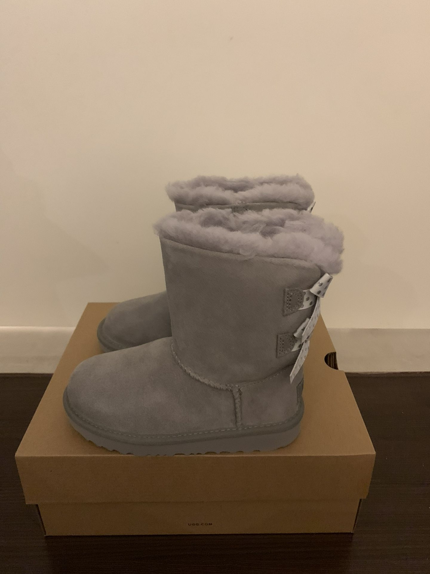 100% Authentic Brand New in Box UGG Bailey Bow Polka Boots / Color: Grey / Toddler size 7 and 11