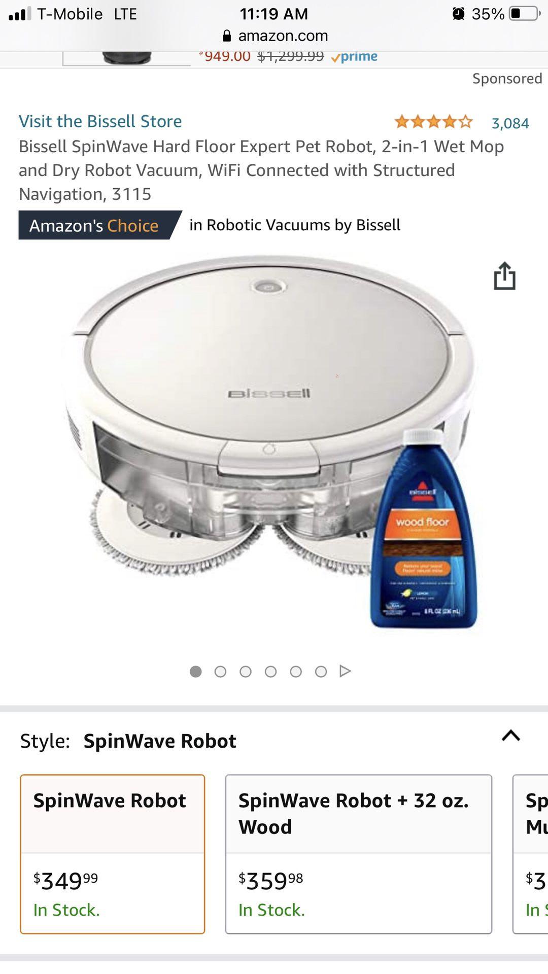Bissell SpinWave Hard Floor Expert Pet Robot, 2-in-1 Wet Mop and Dry Robot Vacuum, WiFi Connected