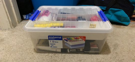 Stackable plastic containers one medium one large for sale Thumbnail