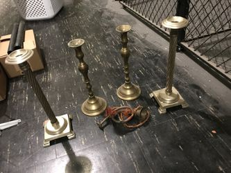 Large brass and copper candle stick holders made in India Thumbnail