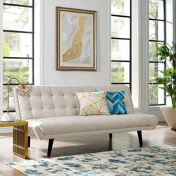 Glance Tufted Convertible Fabric Sofa Bed (3093-BEI) Thumbnail