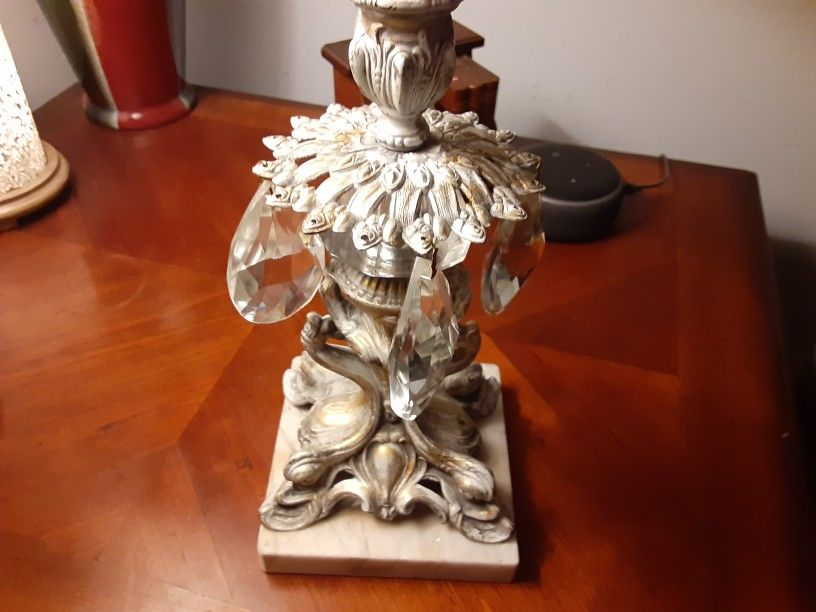 REALLY NEAT BRASS and Marble CANDLE HOLDER WITH TEAR Drops THIS IS Heavy VERY NICE