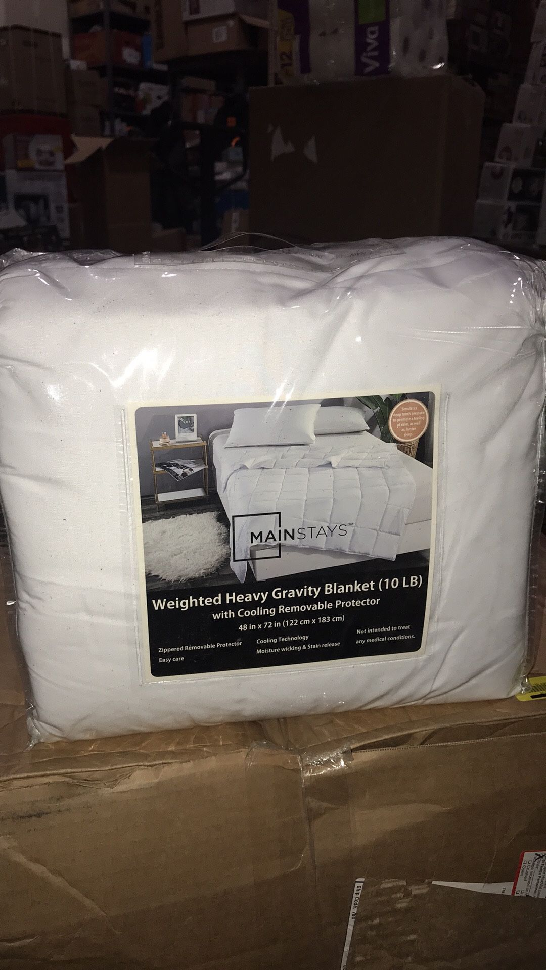 Mainstays Weighted Heavy Blanket with Cooling Removable Protector, 48x72 10lbs New