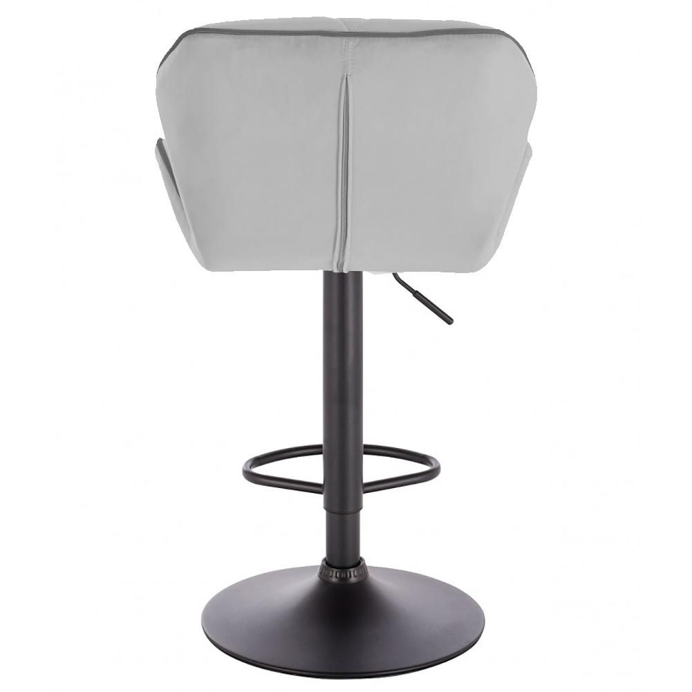 Modern Home Luxe Spyder Contemporary Adjustable Barstool/Bar Chair with 360° Rotation (Black Base, Light Gray/Dark Gray Piping)