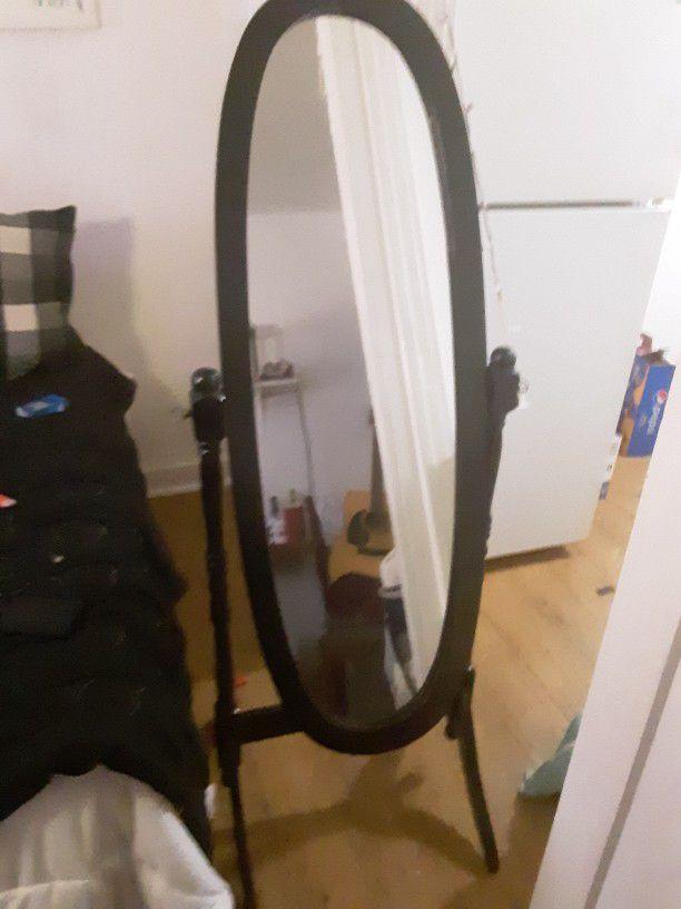 Brand New Black Wooden Oval Swinging Mirror