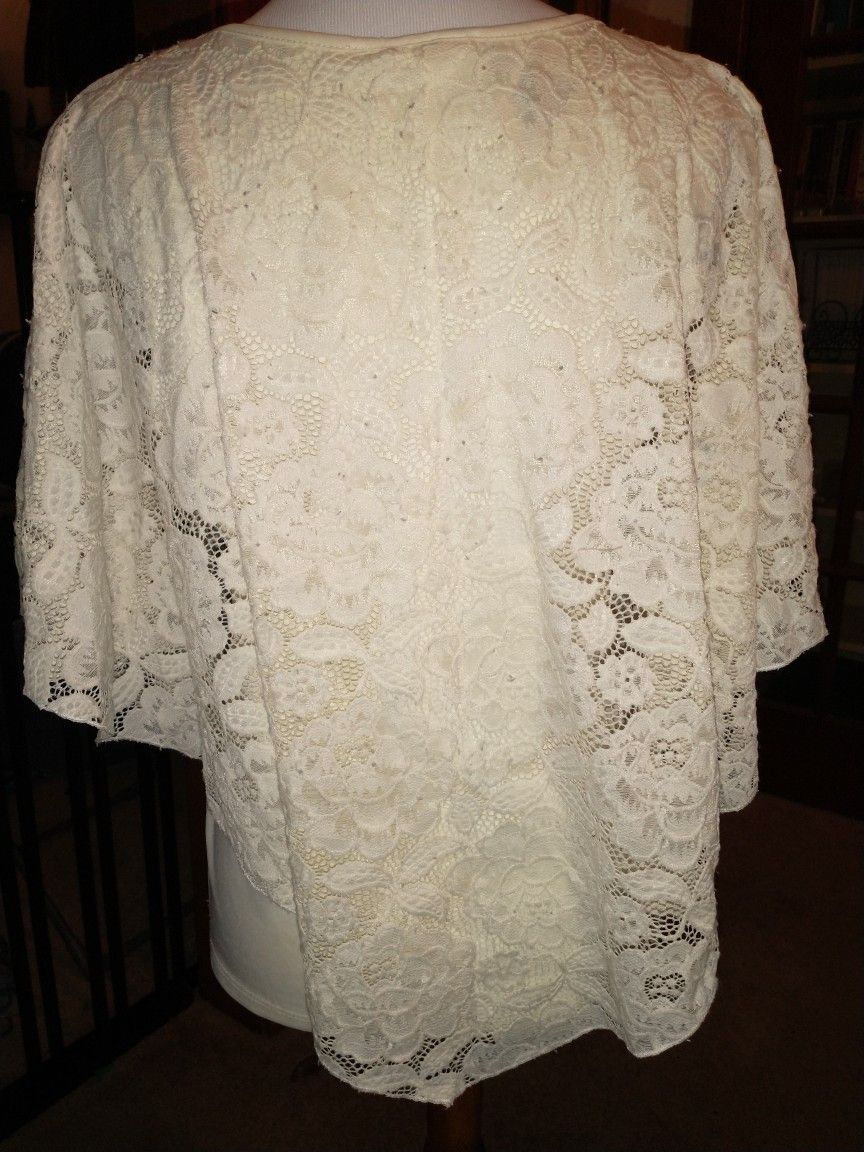 Brittany Black Roses And Lace Poncho Style Blouse