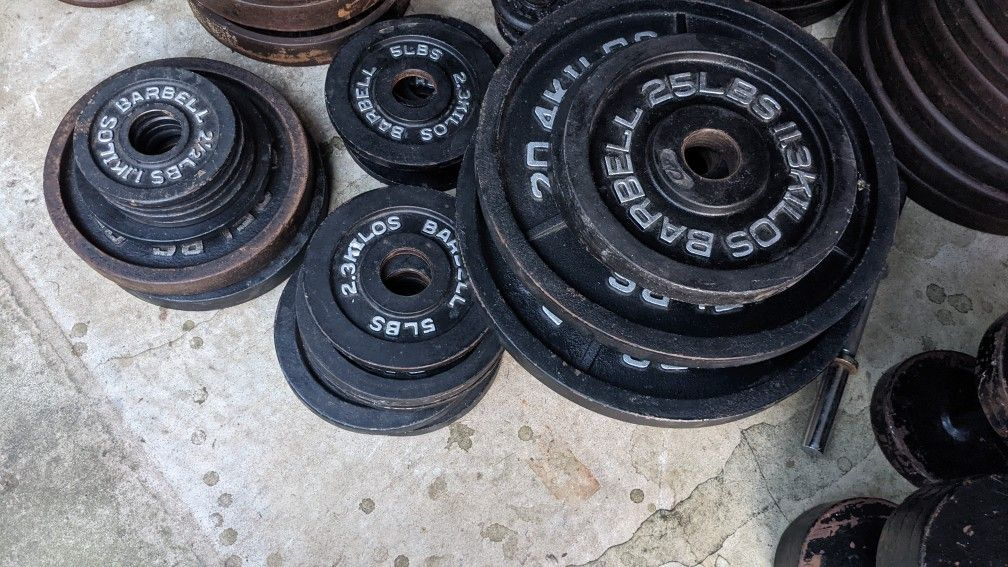 340lbs Weights Fitness Exercise Gym Plus Barbell 385lbs Total