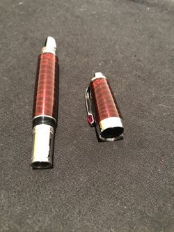 montblanc red noir fountain pen with red stone Thumbnail