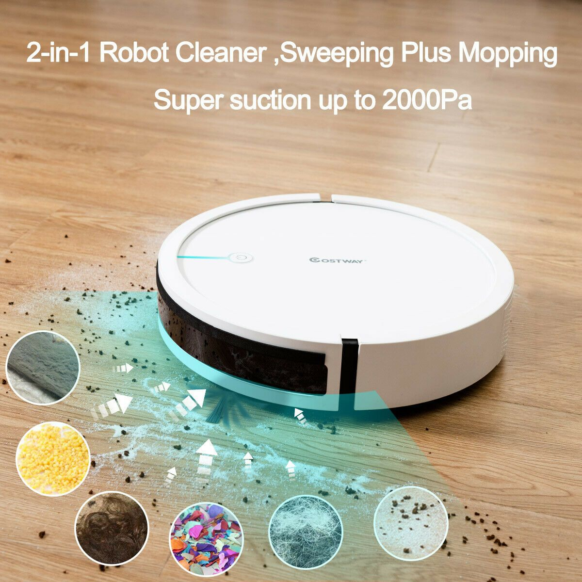 Costway Robot Vacuum Cleaner 2000Pa Strong Suction Filter Auto Self-Charging White