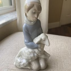 Vintage Lladró Porcelain Shepherd Boy with Sheep Lamb Figurine Handcrafted in Spain Issued 1970, Retired 1992 Thumbnail
