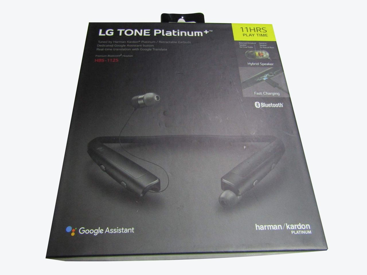 LG HBS-1125 Tone Platinum+ Bluetooth Wireless Stereo Headset With Fast Charge And Google Assistant Button, Black LN1