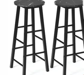Set of 2 Pub Dining Height Bar Stool Bistro Table Chairs Faux Marble Top Black Thumbnail