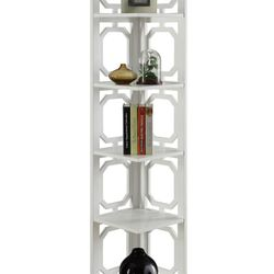 Omega 5 Tier Corner Bookcase, White Thumbnail