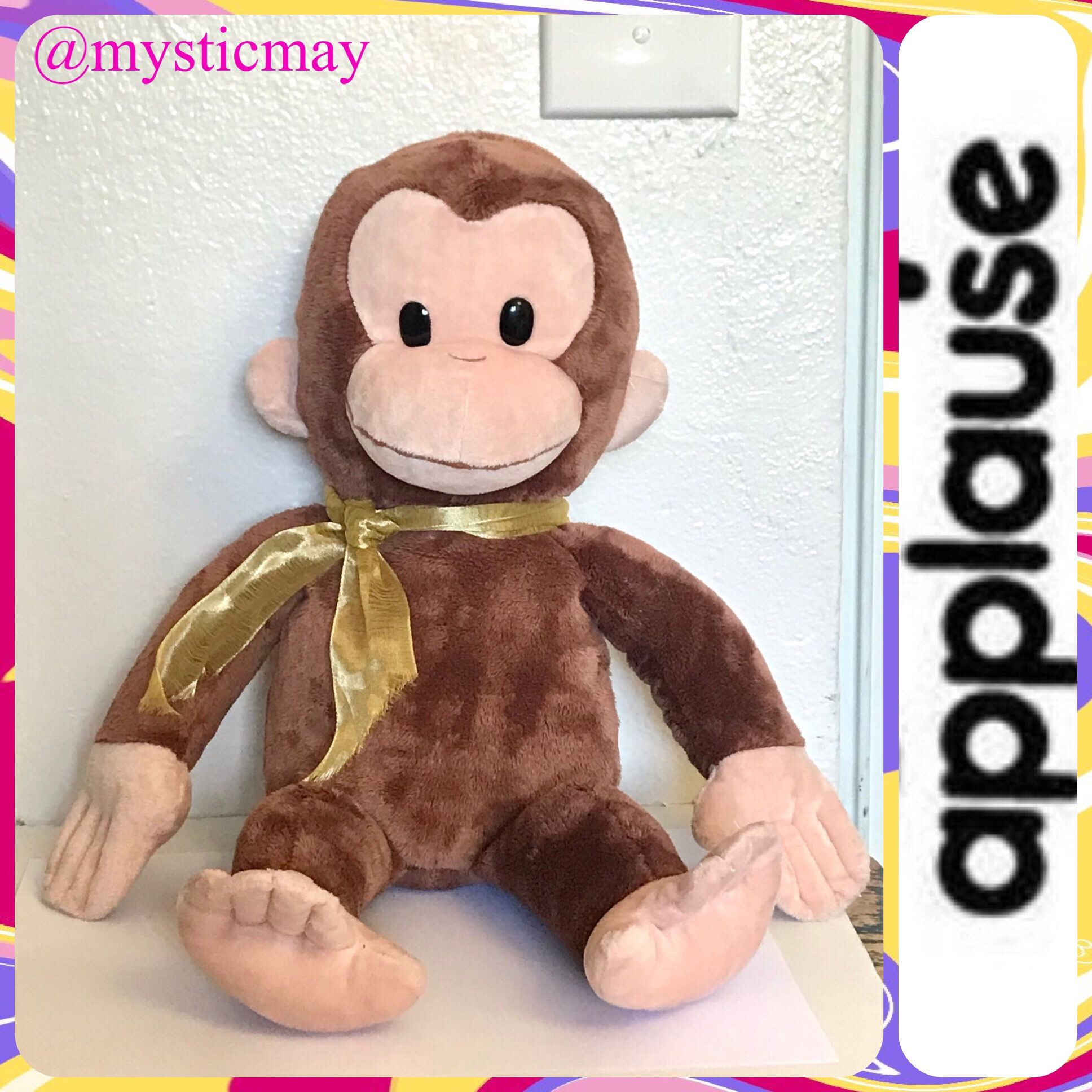 """2019 Applause by Russ CURIOUS GEORGE 16"""" PLUSH TOY Stuffed Animal Monkey Kohls"""
