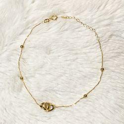 Real 18k Saudi gold double heart bracelet Thumbnail