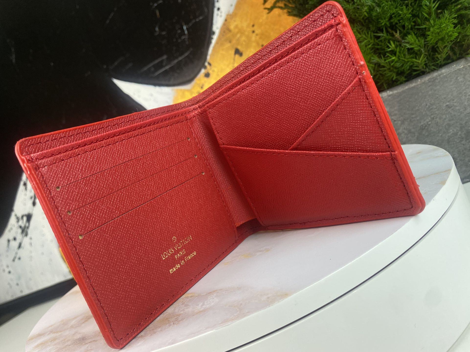 L.V x Supreme Wallet In Red