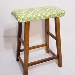 Solid Wood Backless Stool  Padding & Cover Added (Can be Removed) Counter Bar Kitchen Seat Chair Thumbnail