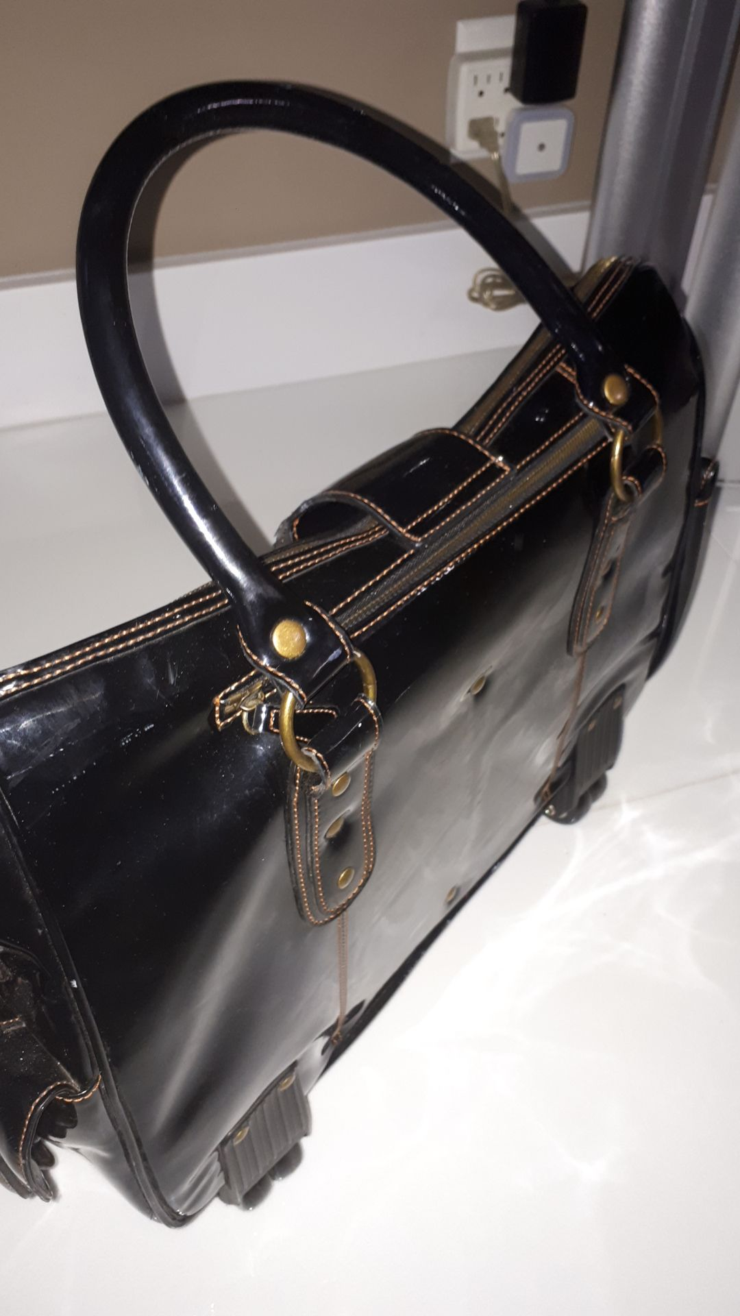 GJ Gillian Julius Eco Leather Rolling Bag