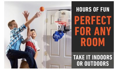 Franklin Sports Mini Basketball Hoop with Rebounder and Ball - Over The Door Basketball Hoop With Automatic Ball Rebounder - Indoor For Kids Thumbnail
