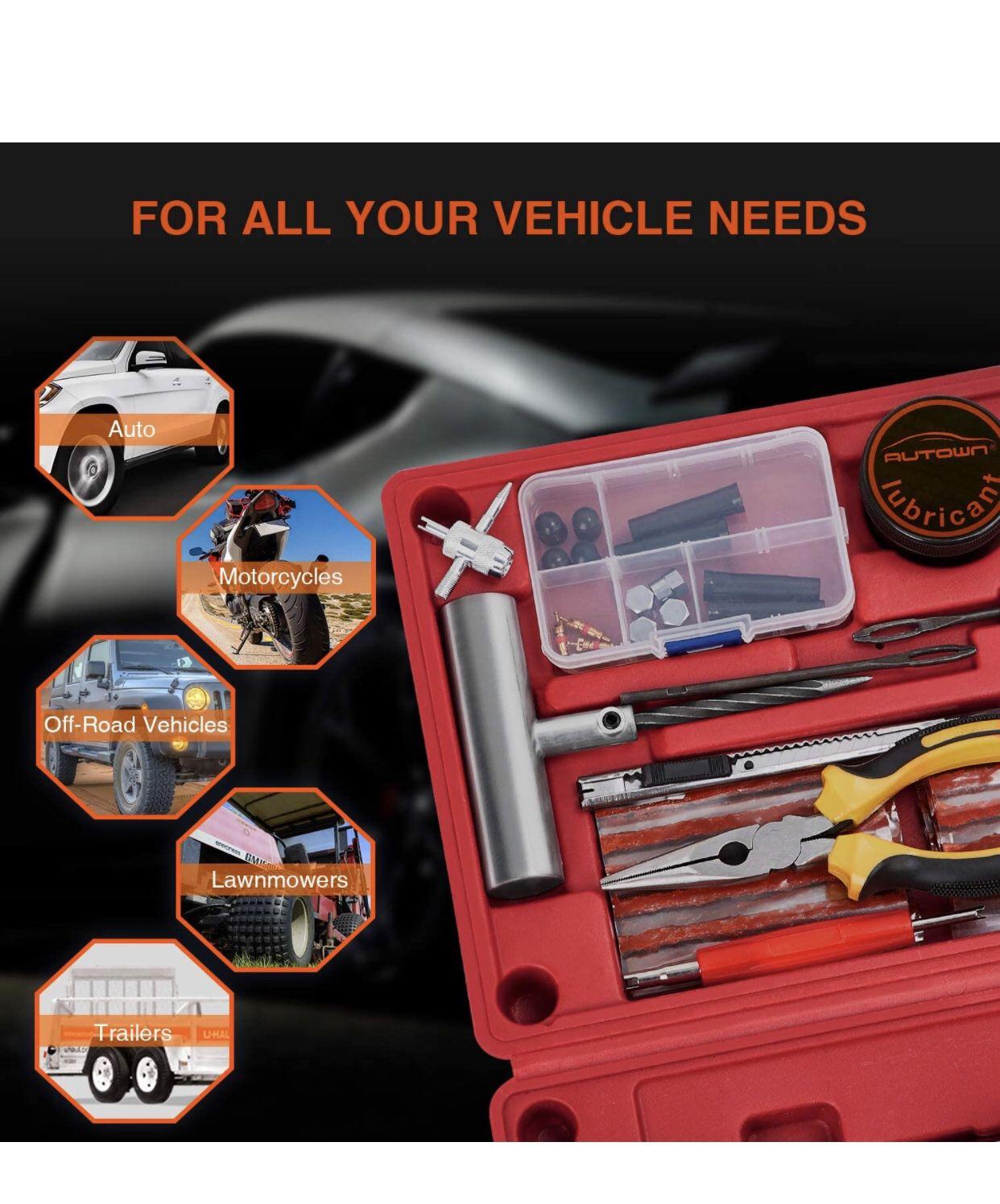 Flat Tire Repair Kits, 62 Pcs Universal Tire Plug Kit Heavy Duty Flat Tire Puncture Repair Kit for Cars, Trucks, Motorcycles, ATV,RV, Jeep, Tractor, T