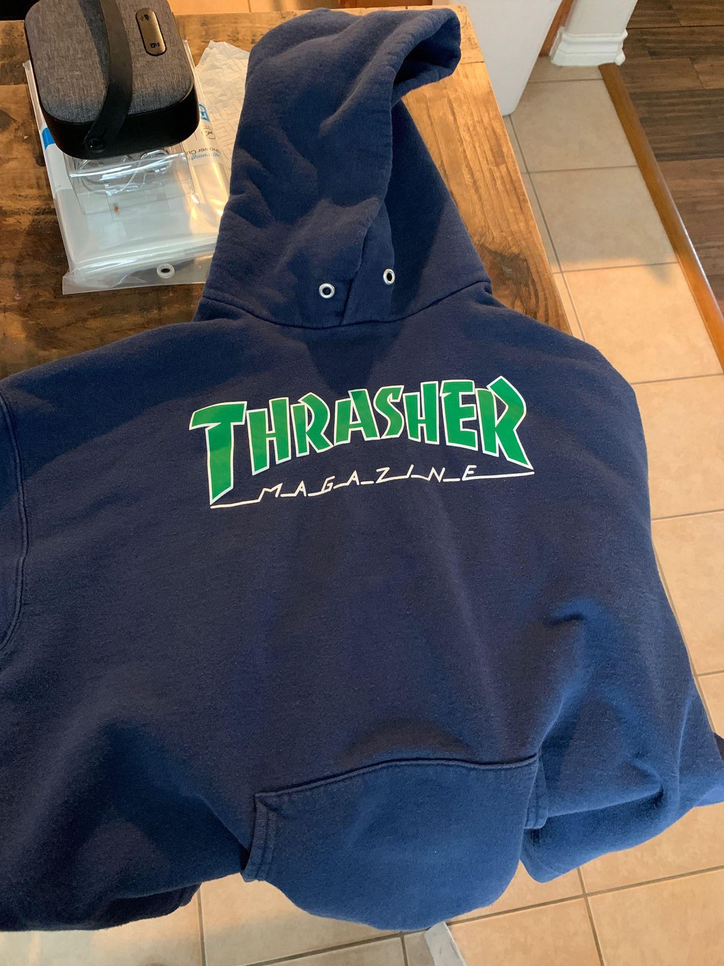 Thrasher logo navy green hoodie