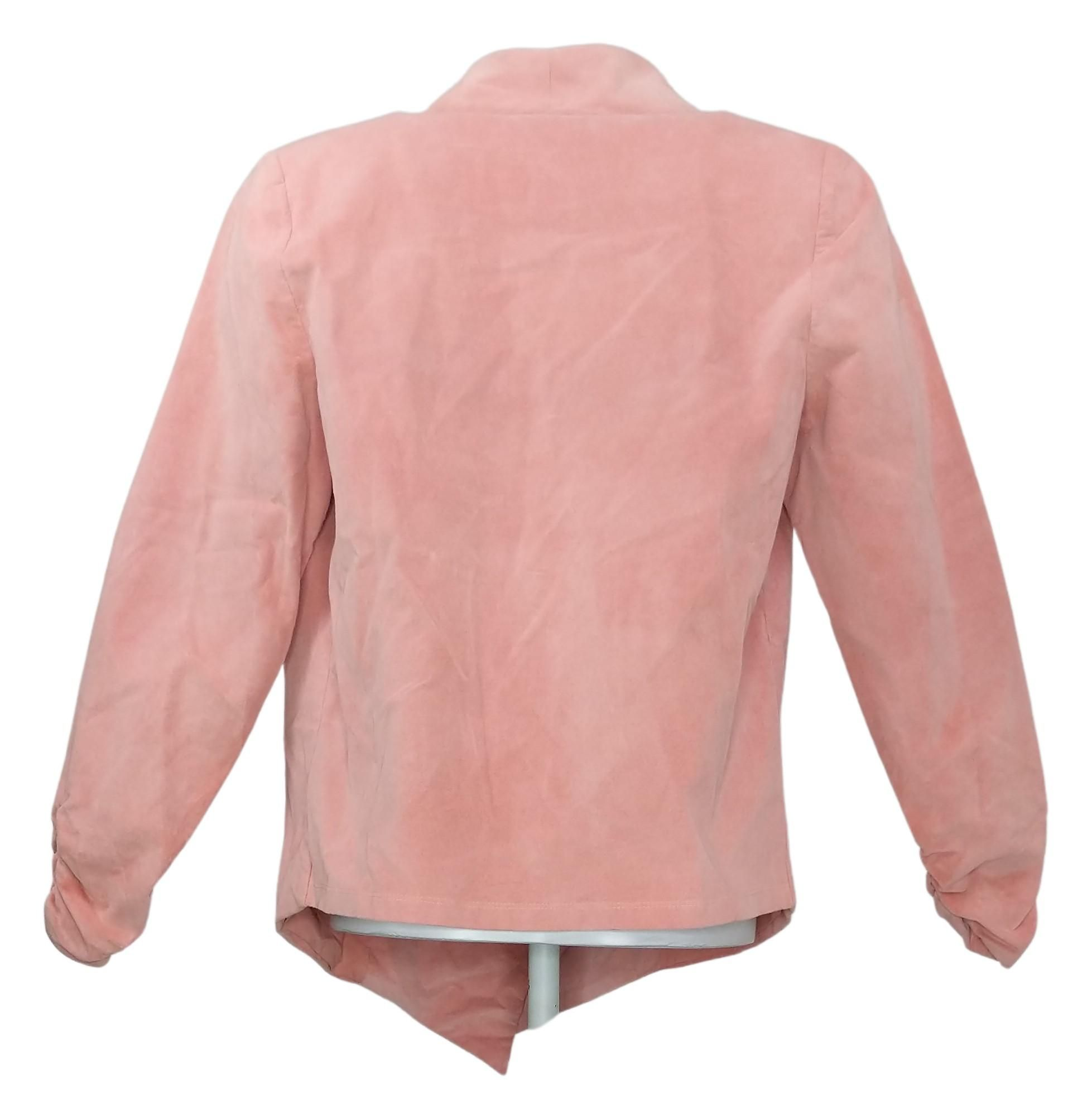 DG2 By Diane Gilman Women's Sz S Stretch Velvet Open Front Blazer Pink 680567