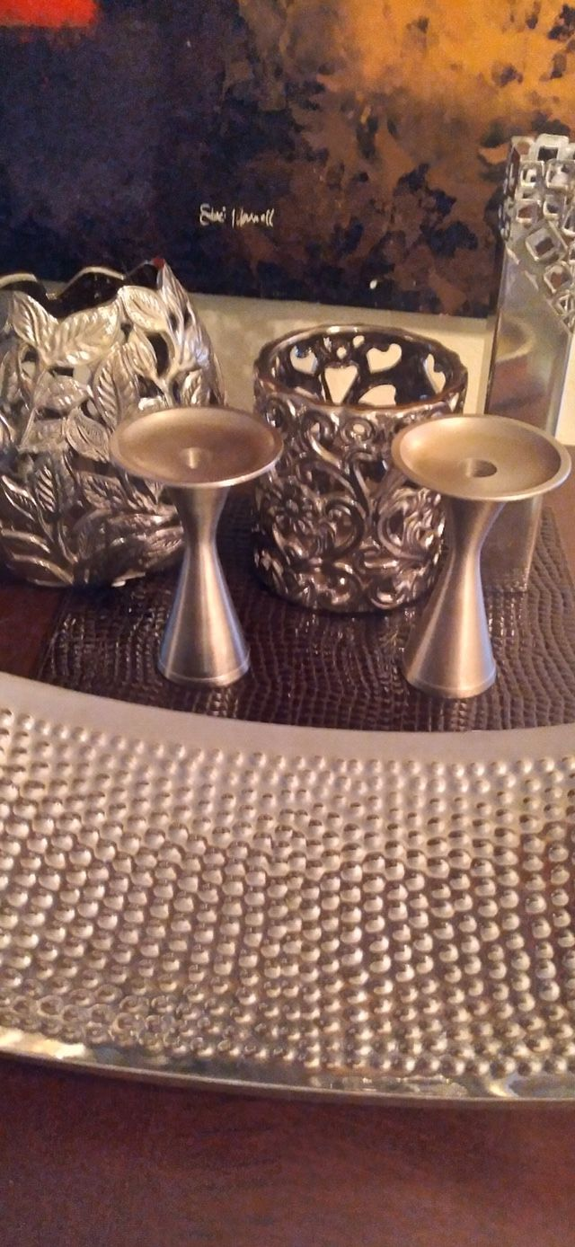 Brass Centerpiece And Candle Holders