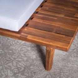 Ellison Indoor Minimalist V Shaped 4 Piece Sandblast Finished Acacia Wood Sectional Sofa Set with White Cushions Thumbnail