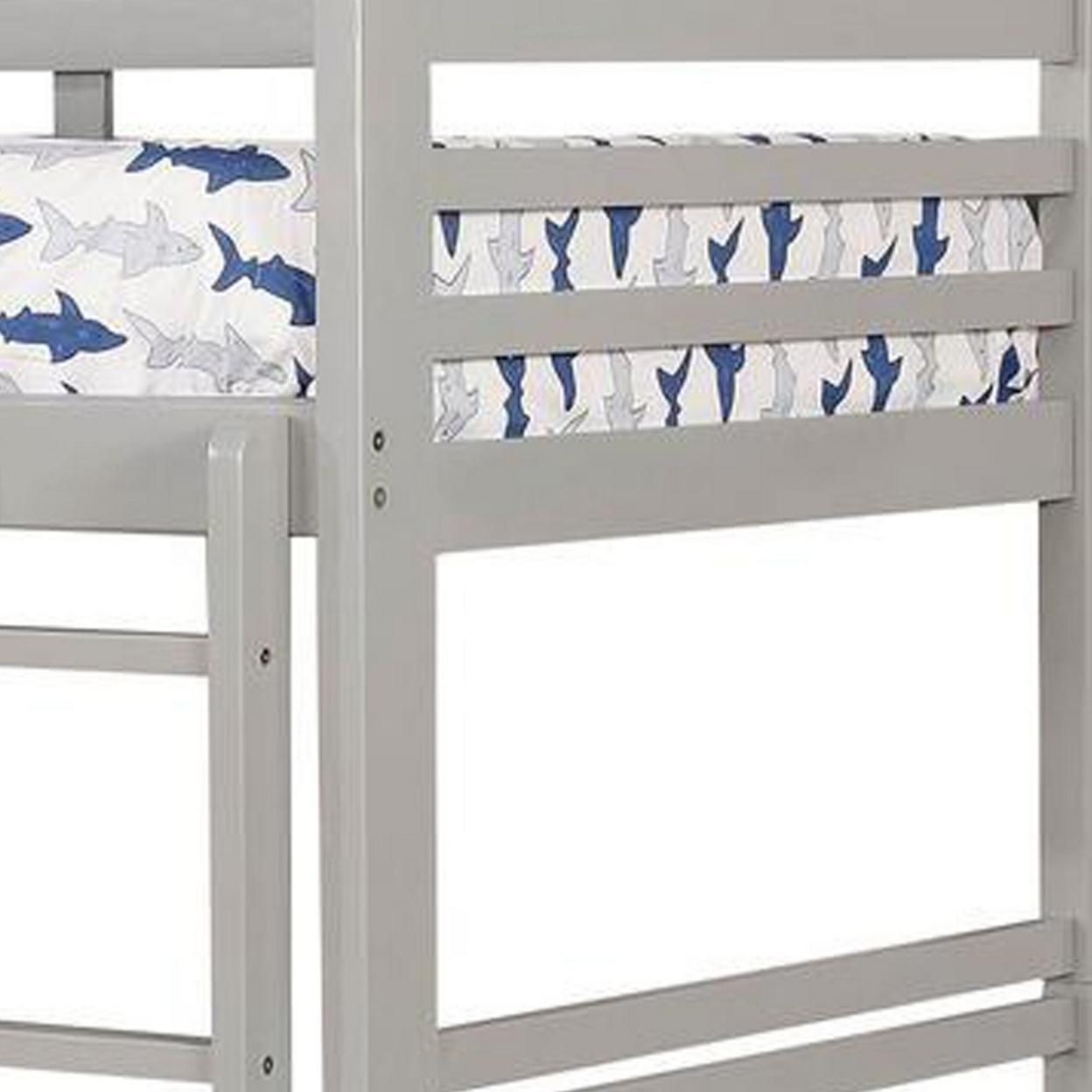 Saltoro Sherpi Transitional Twin Over Twin Bed with Attached Ladder and Drawers, Gray