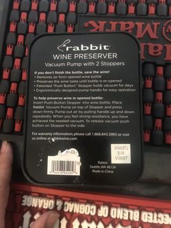 The Rabbit Wine Preserver with Two Wine vacuum Stoppers Thumbnail