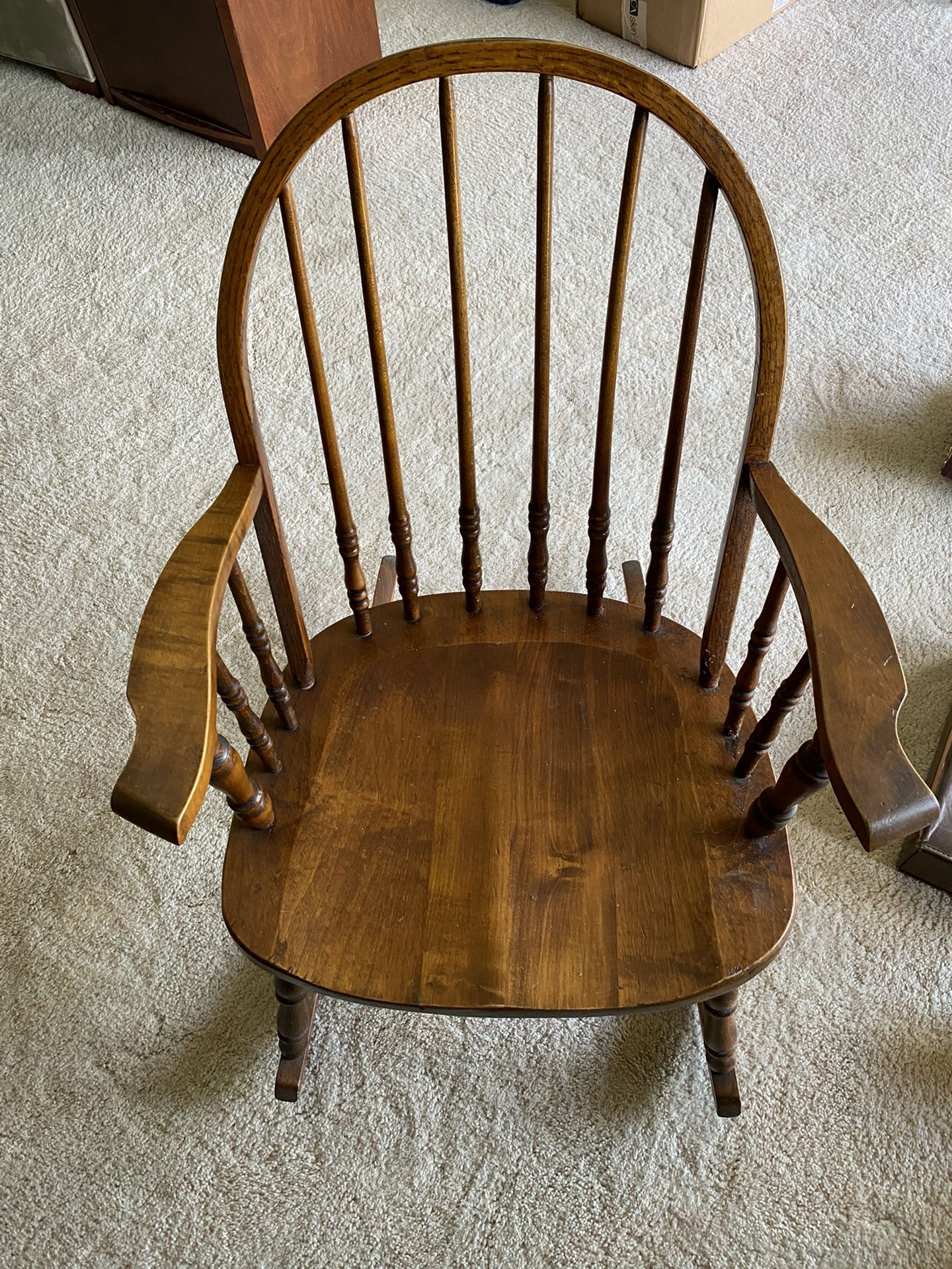 Wood Rocking Chair w/ Rounded Back