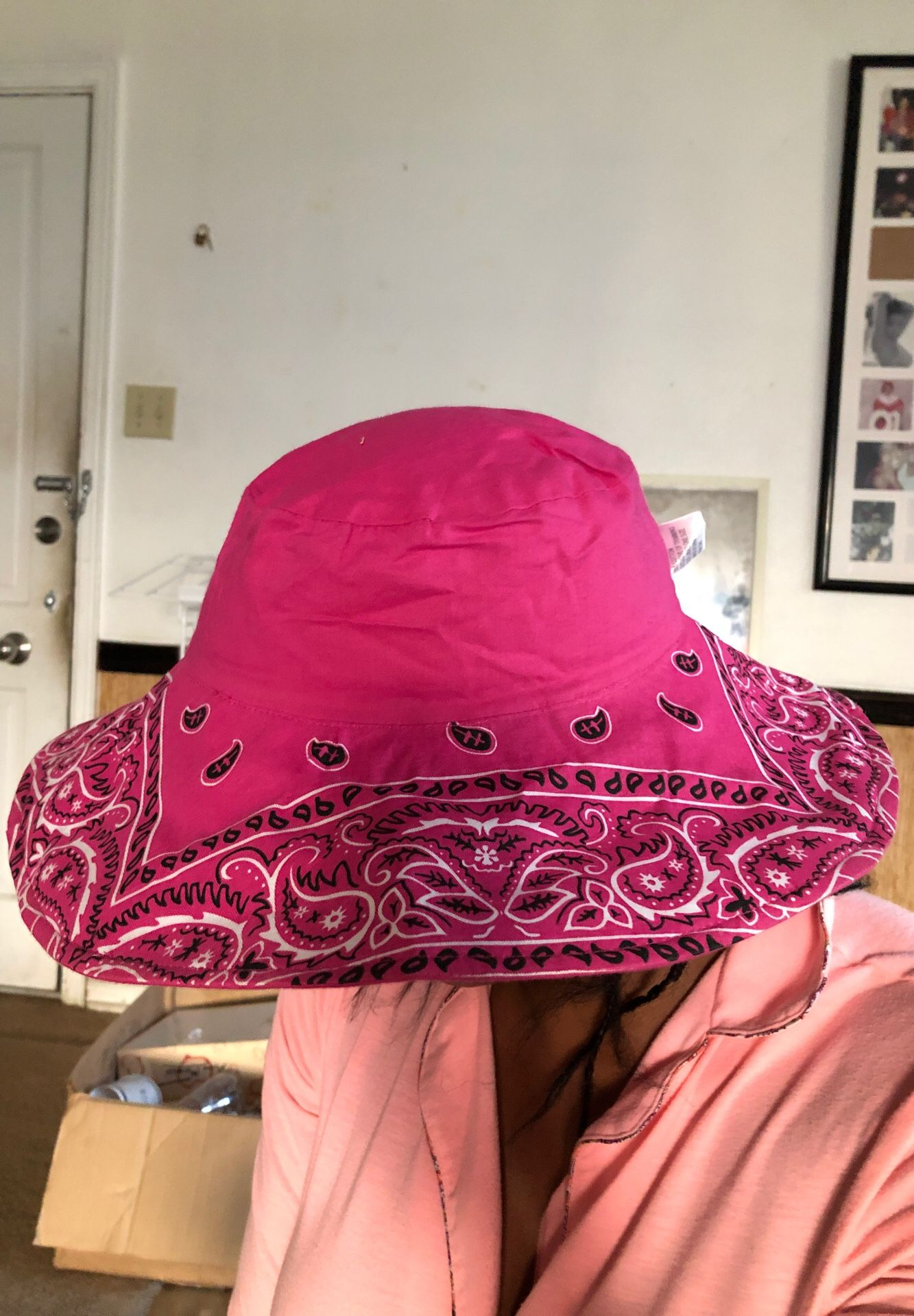 Pink bandanna style hat