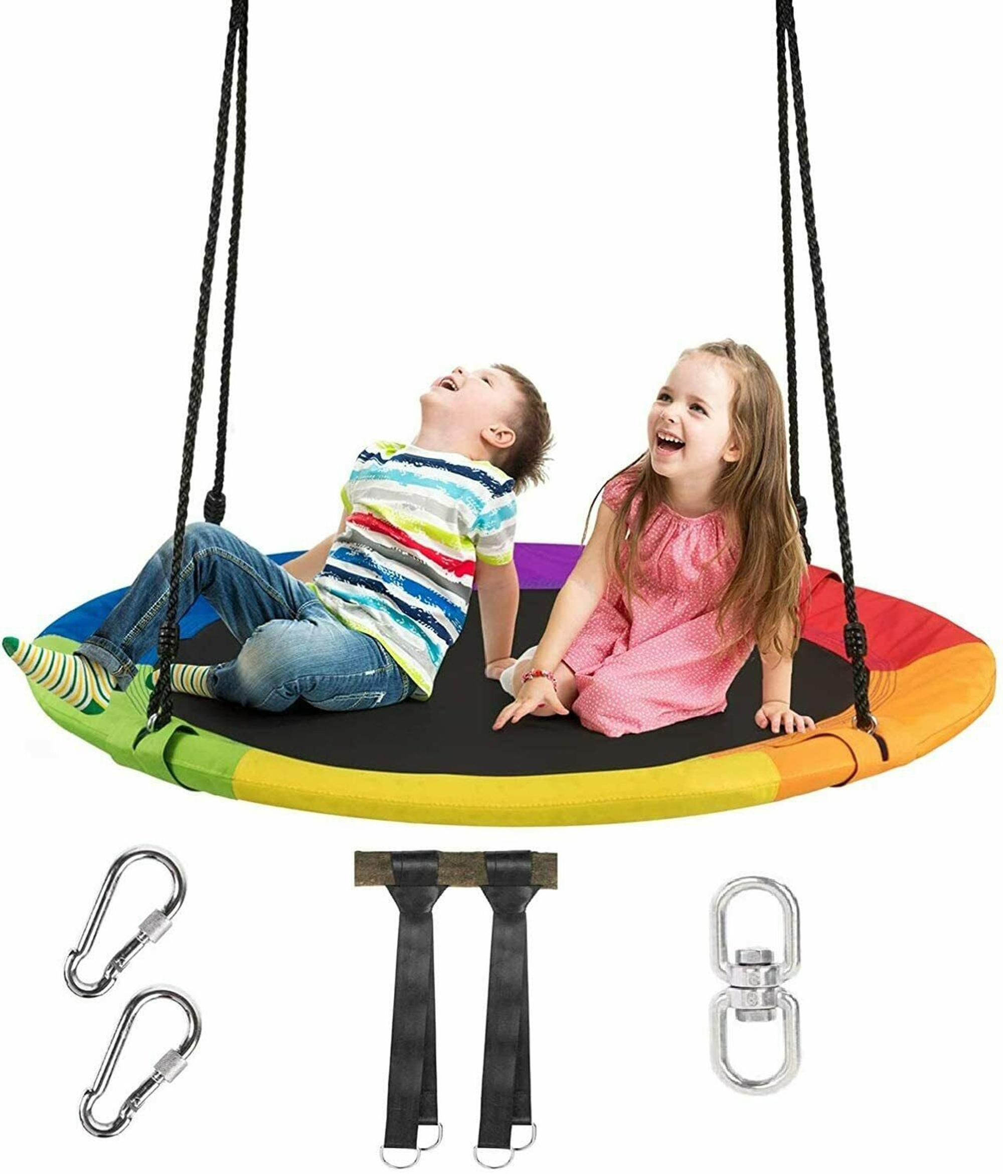 Gymax 40'' 770 lbs Flying Saucer Tree Swing Kids Gift w/ 2 Tree Hanging Straps