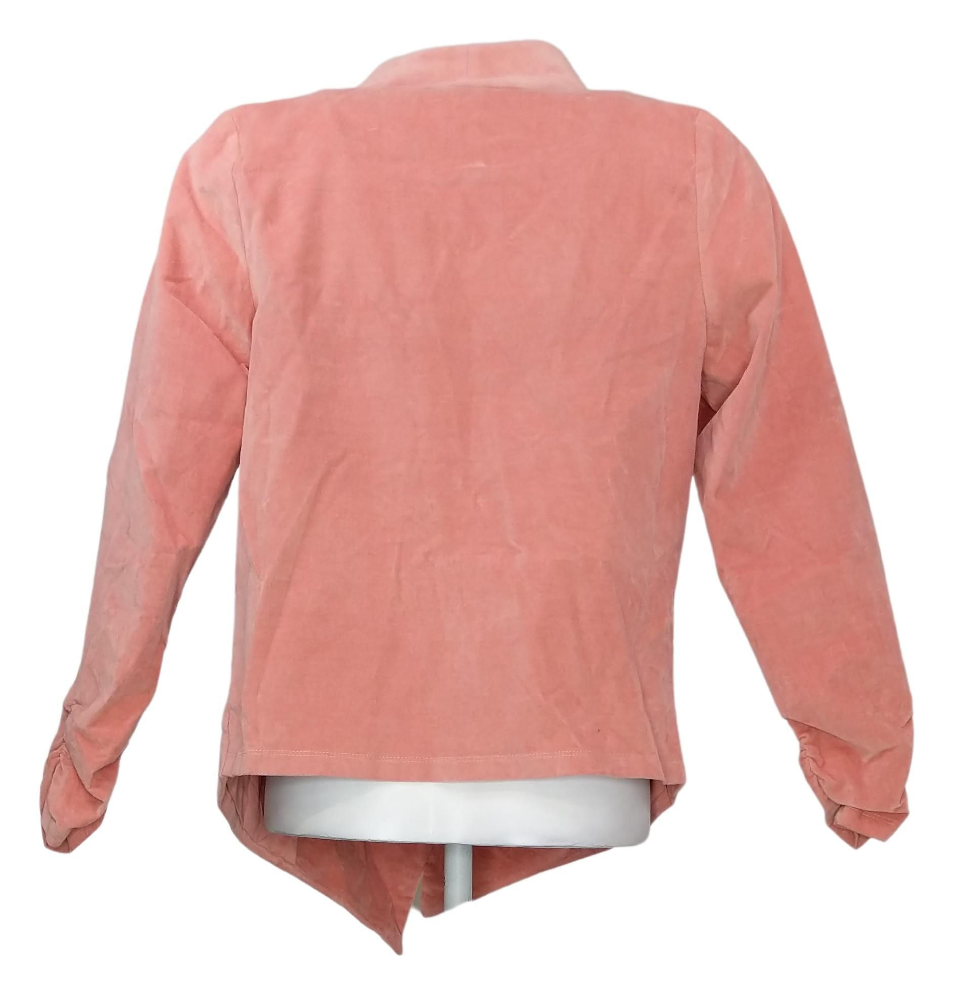 DG2 By Diane Gilman Women's Sz XS Stretch Velvet Open Front Blazer Pink 680567