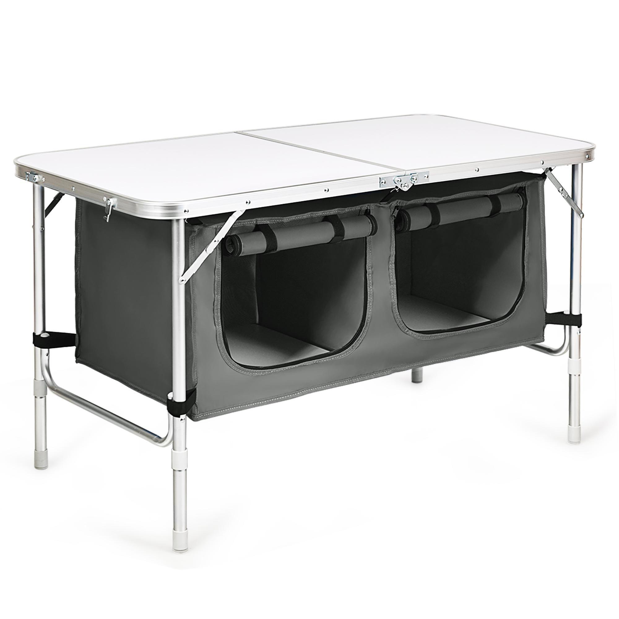 Costway Adjustable Camping Table Aluminum w/ Storage Organizer Grey