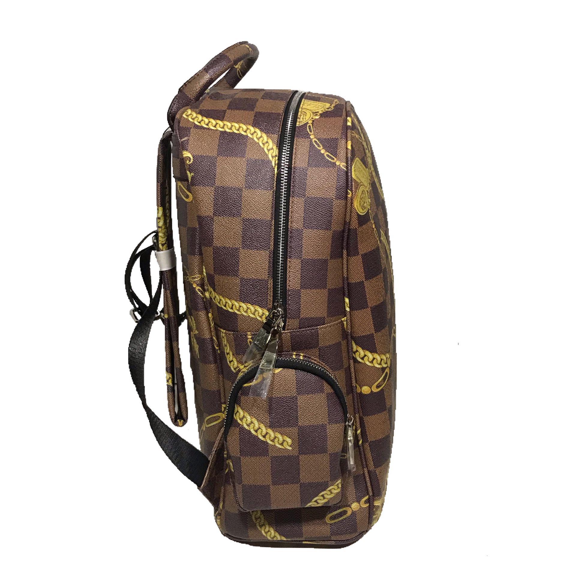 """Men's Brown """"Face Backpack""""."""