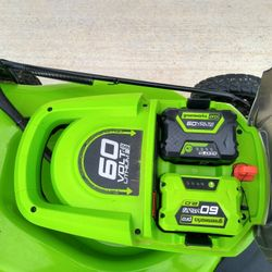 2020 Greenworks 60v Self-Propelled Lawn Mower +Two Batteries +Charger Thumbnail