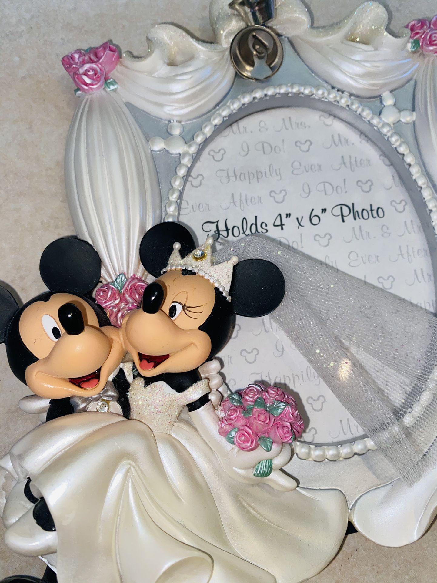"Disney Parks Exclusive Mickey Minnie Wedding Frame 3D 4"" x 6"
