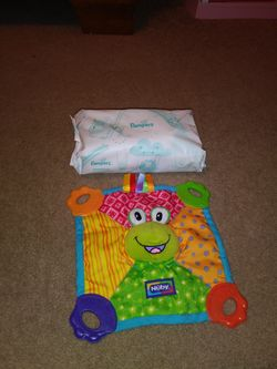 Grey Bompy Pillow with White Elephants and Pampers Wipes and Nuby Teether Thumbnail