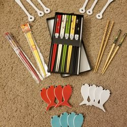 Chopsticks LOT Sushi Japan Holder Crate And Barrel Cocktail Ceramic Fork Spoon Lucky Cat Wooden Plastic Fish Tempura Wasabi Lobster Asian Foodie Roll Thumbnail