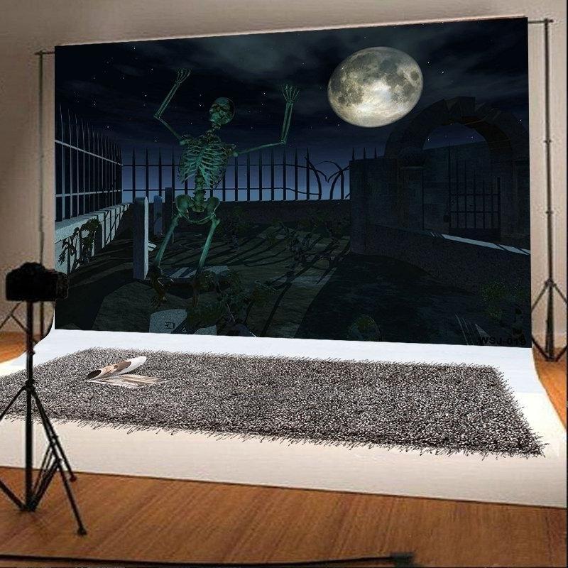 7x5ft Thriller Halloween Photo Backdrops Dark Human Skeleton Haunted Boneyard Photo Booth Props