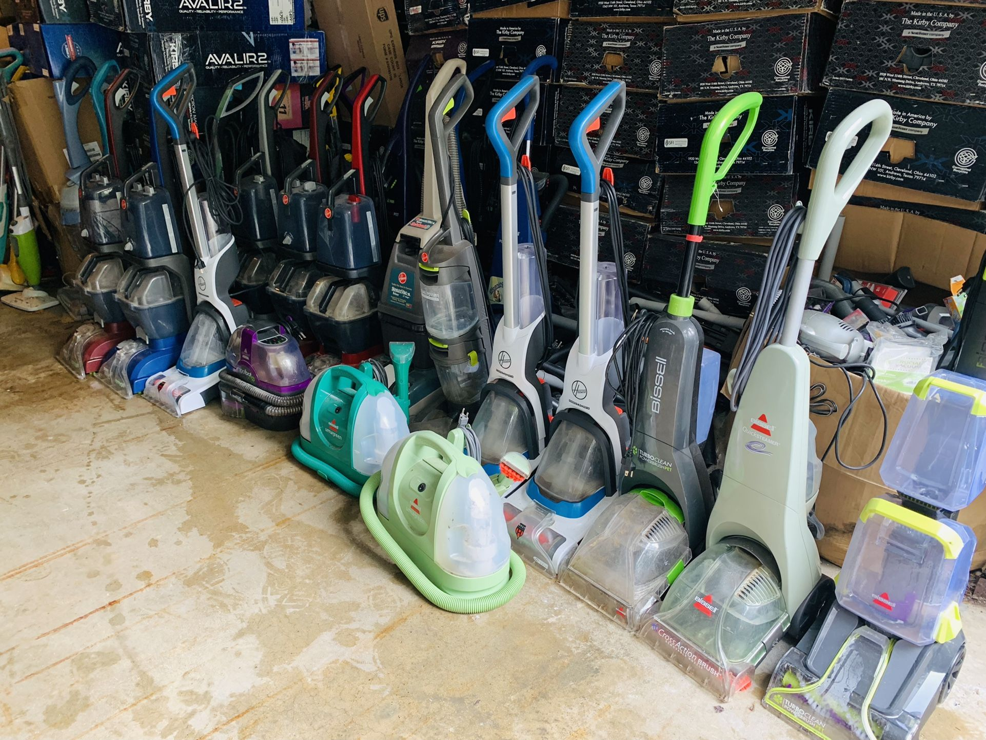 Working carpet shampooers and bare floor steamers
