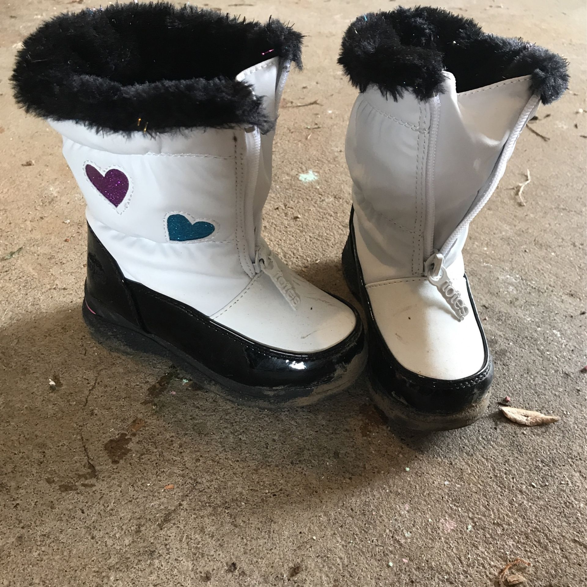 White Fur Toddler 8 Snow Boots