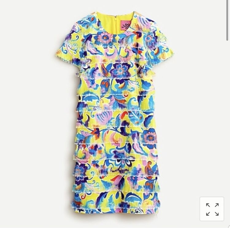 J Crew Yellow Fringe Shift Dress Size 2