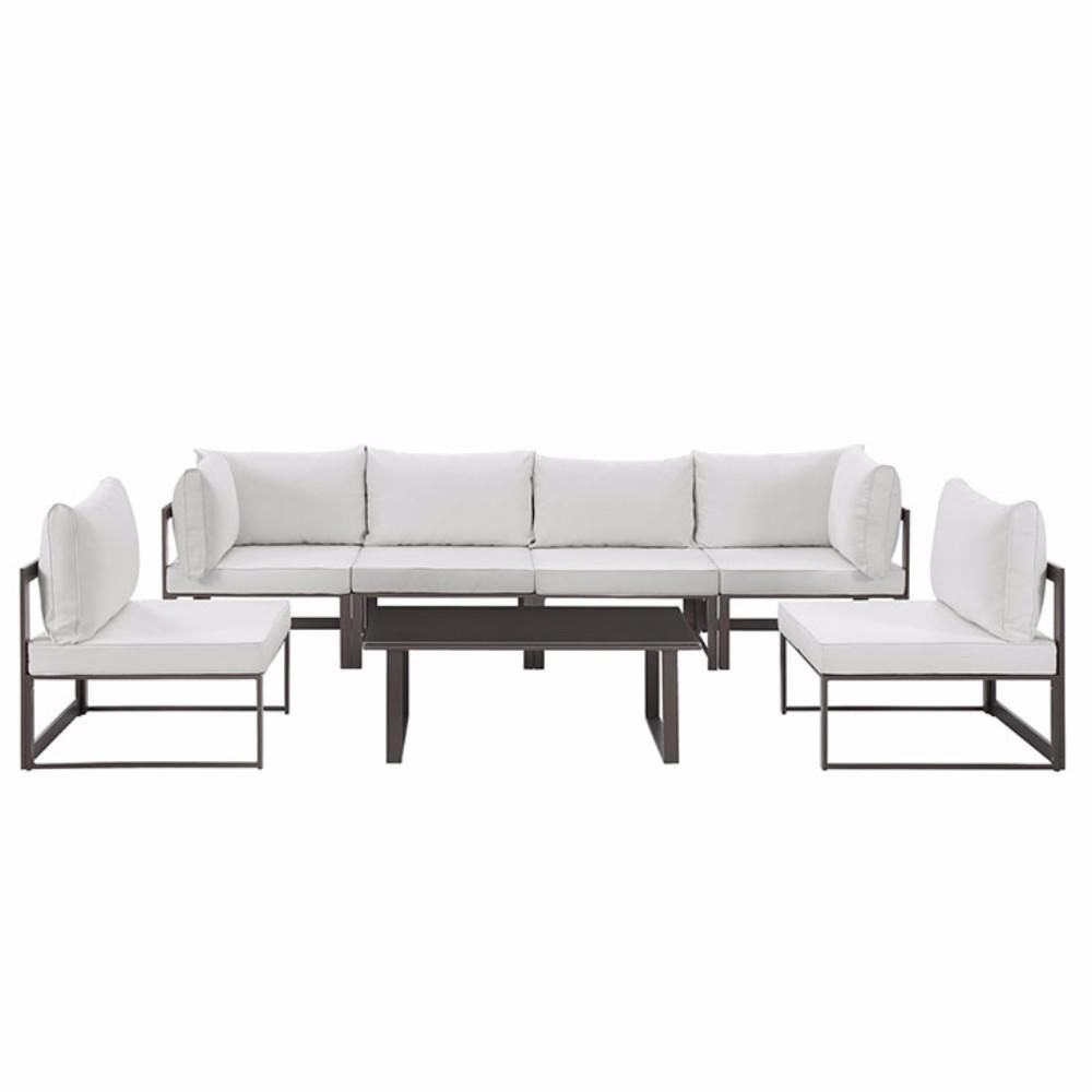 Fortuna 7 Piece Outdoor Patio Sectional Sofa Set , Brown White