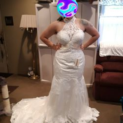 Halter Chantilly Lace Mermaid Wedding Dress Size 12 Thumbnail