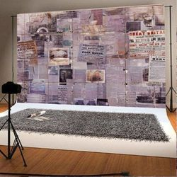 7x5ft Photography Backdrops Retro Poster Photo Booth Props for Children Backgrounds Thumbnail