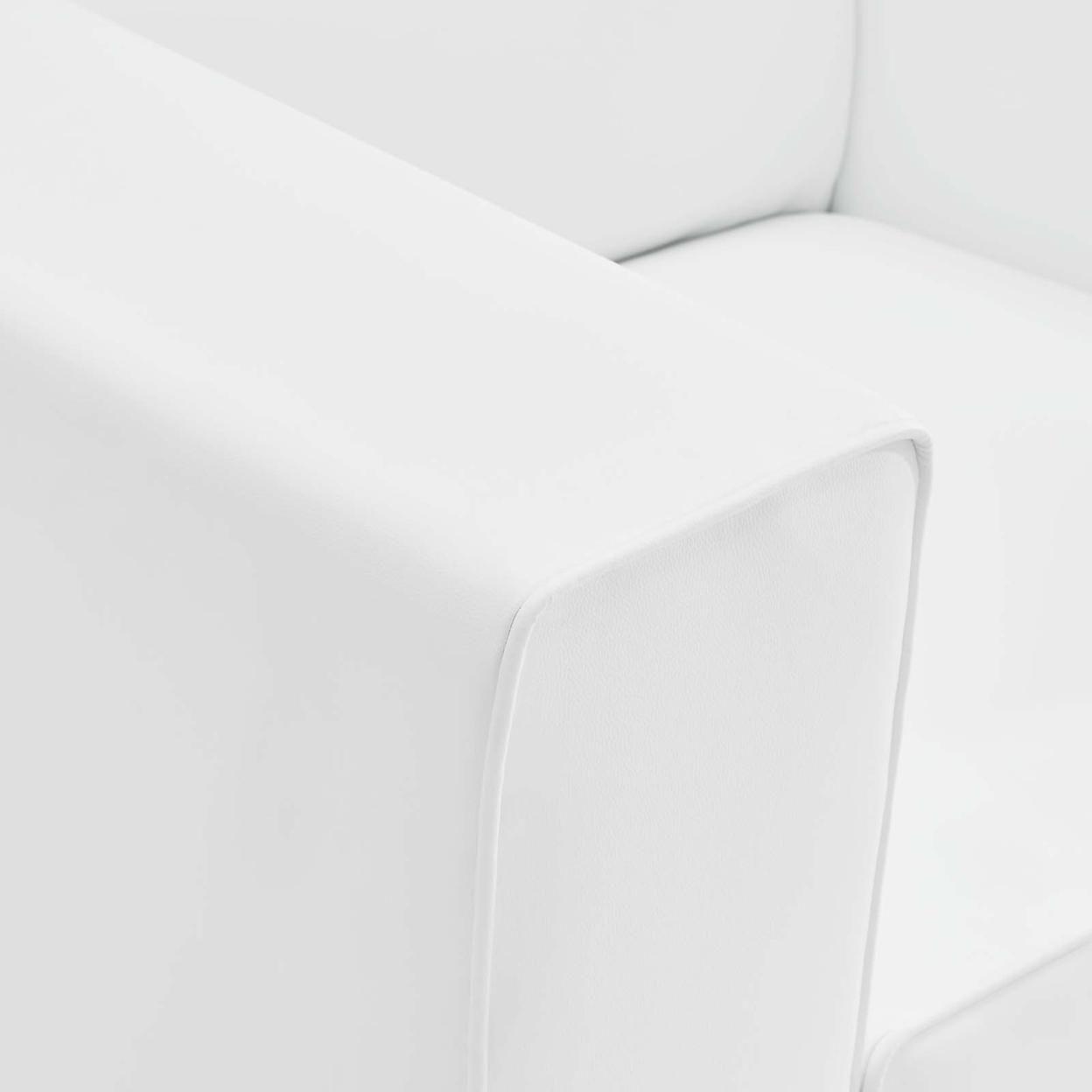 Mingle Vegan Leather Armchair, White