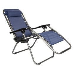 2pcs Plum Blossom Lock Portable Folding Chairs with Saucer Blue Thumbnail